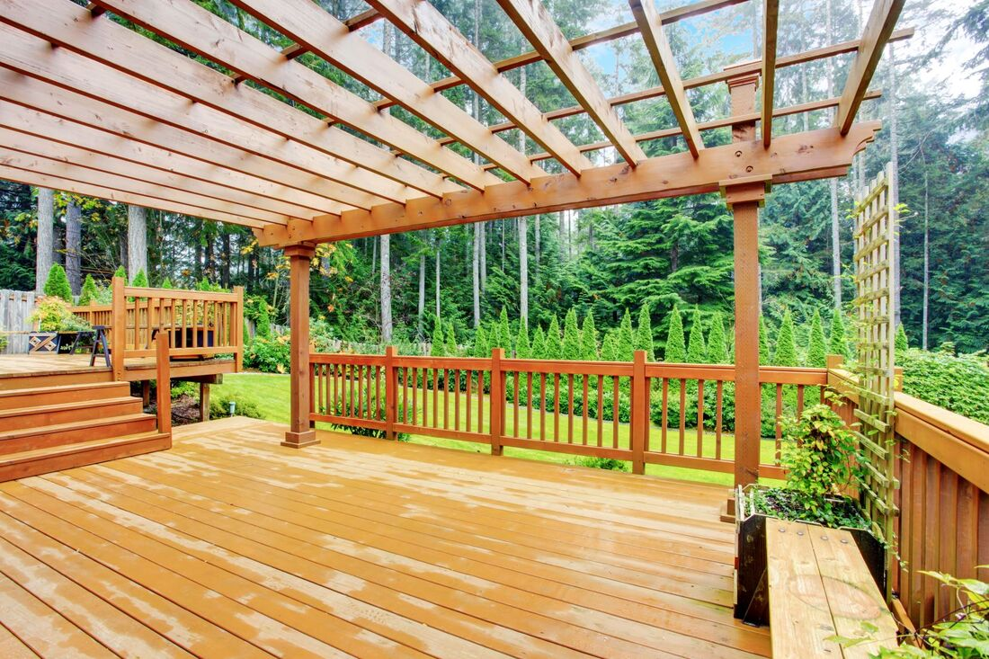 Wood pergola and deck